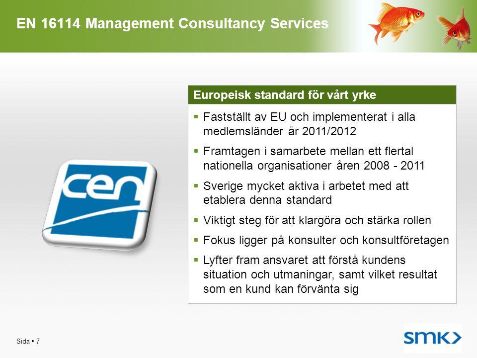EN 16114 Management Consultancy Services Sida  7 Europeisk standard för vårt yrke  Fastställt av EU och implementerat i alla medlemsländer år 2011/2