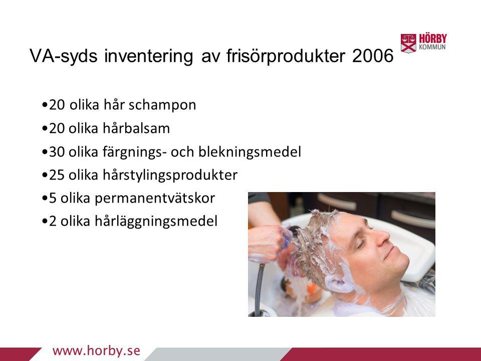 VA-syds inventering av frisörprodukter 2006 •20 olika hår schampon •20 olika hårbalsam •30 olika färgnings- och blekningsmedel •25 olika hårstylingspr