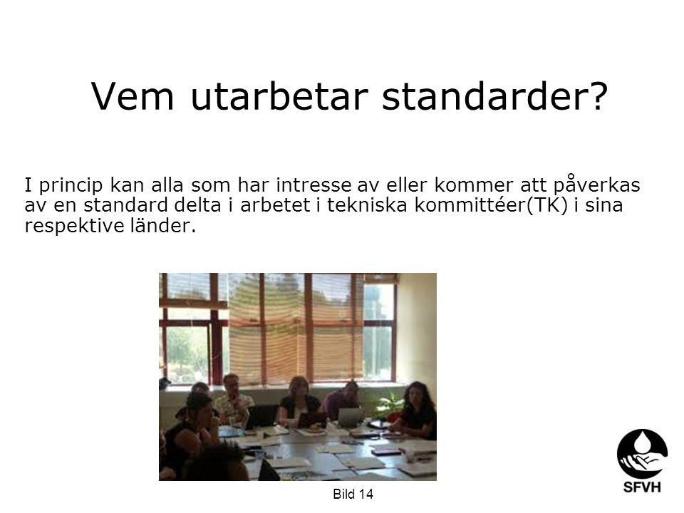 Vem utarbetar standarder? I princip kan alla som har intresse av eller kommer att påverkas av en standard delta i arbetet i tekniska kommittéer(TK) i