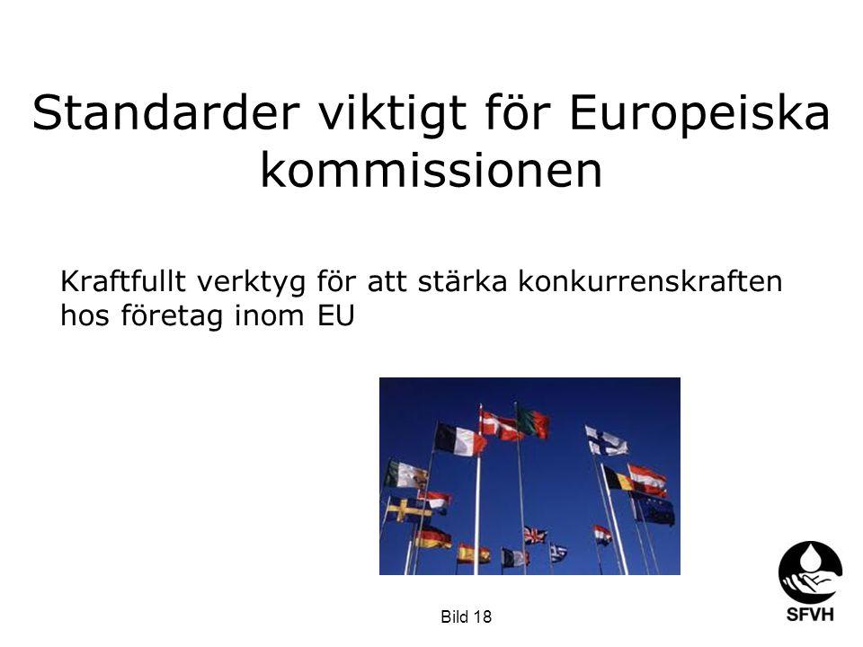 Standarder viktigt för Europeiska kommissionen Kraftfullt verktyg för att stärka konkurrenskraften hos företag inom EU Bild 18