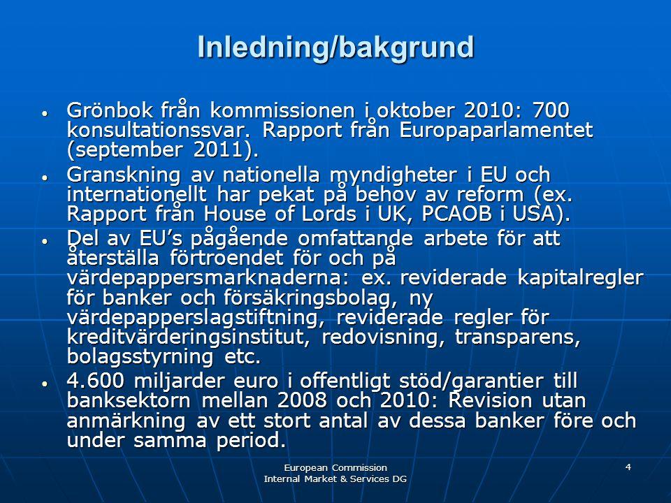 European Commission Internal Market & Services DG 4 Inledning/bakgrund • Grönbok från kommissionen i oktober 2010: 700 konsultationssvar. Rapport från