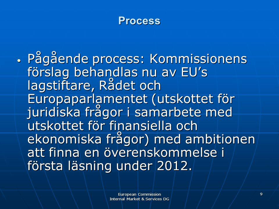 European Commission Internal Market & Services DG 9 Process • Pågående process: Kommissionens förslag behandlas nu av EU's lagstiftare, Rådet och Europaparlamentet (utskottet för juridiska frågor i samarbete med utskottet för finansiella och ekonomiska frågor) med ambitionen att finna en överenskommelse i första läsning under 2012.