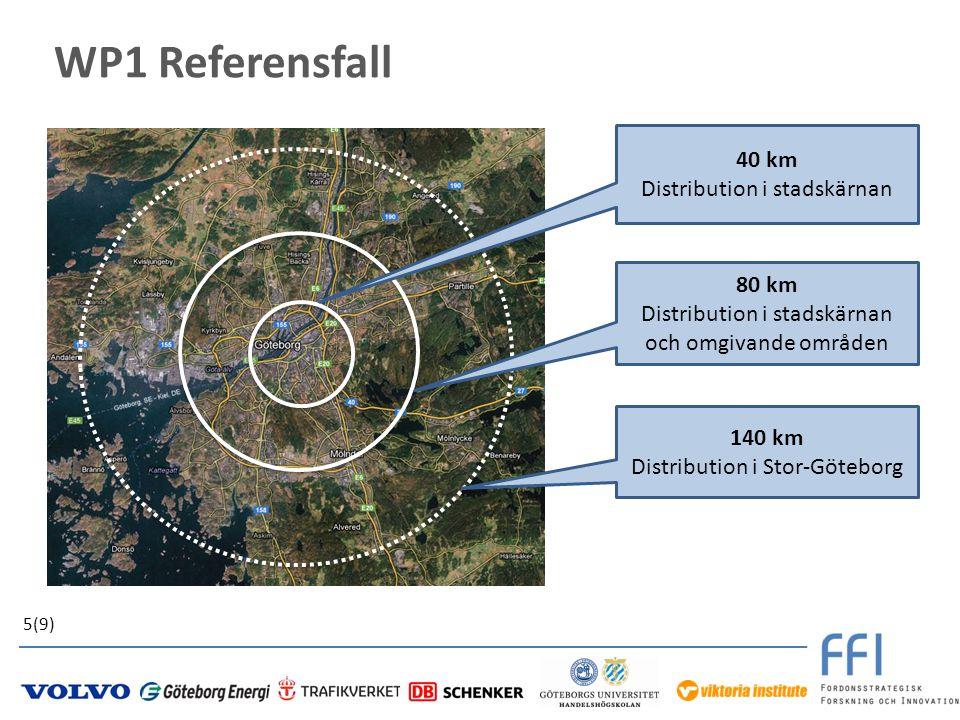 WP1 Referensfall 40 km Distribution i stadskärnan 140 km Distribution i Stor-Göteborg 80 km Distribution i stadskärnan och omgivande områden 5(9)