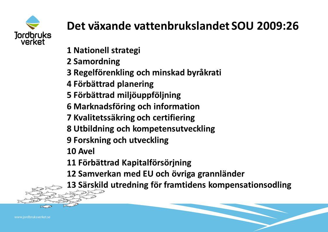 Det växande vattenbrukslandet SOU 2009:26 1 Nationell strategi 2 Samordning 3 Regelförenkling och minskad byråkrati 4 Förbättrad planering 5 Förbättra