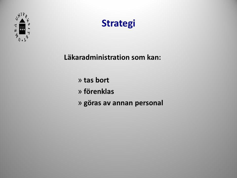 Strategi Läkaradministration som kan: » tas bort » förenklas » göras av annan personal 14