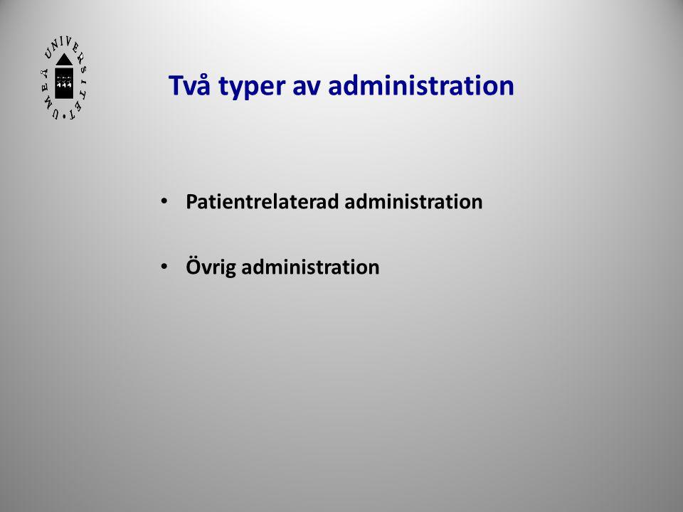 Två typer av administration • Patientrelaterad administration • Övrig administration 15