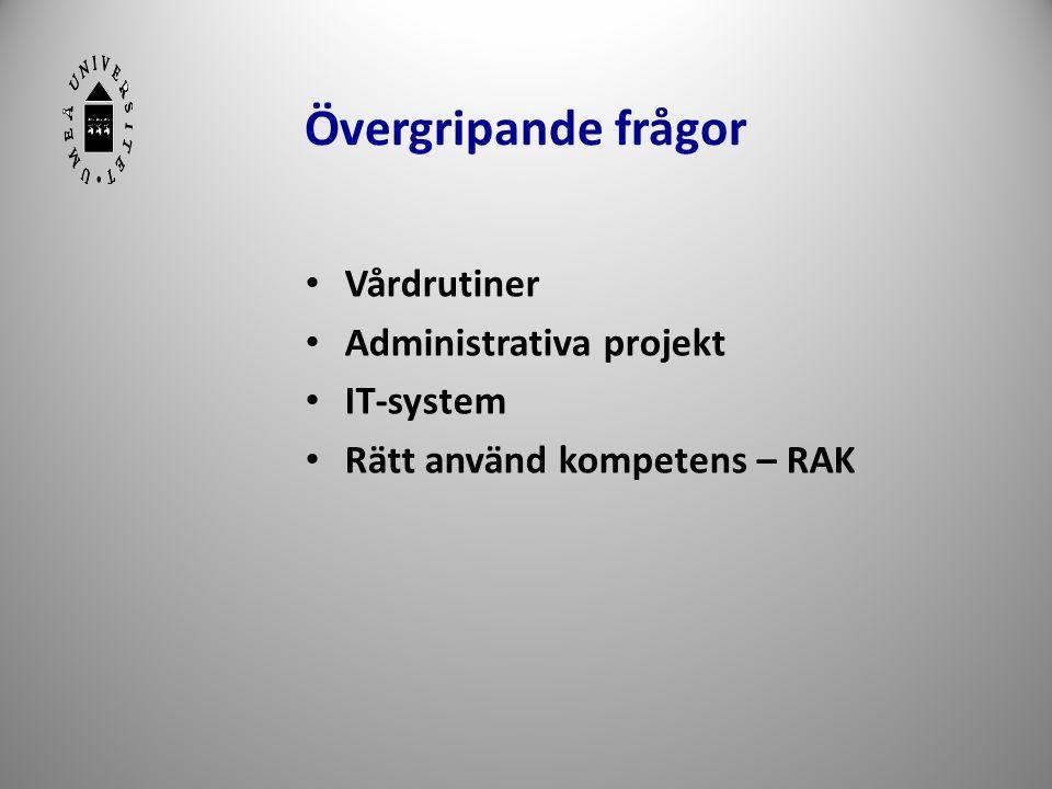 Övergripande frågor • Vårdrutiner • Administrativa projekt • IT-system • Rätt använd kompetens – RAK 22