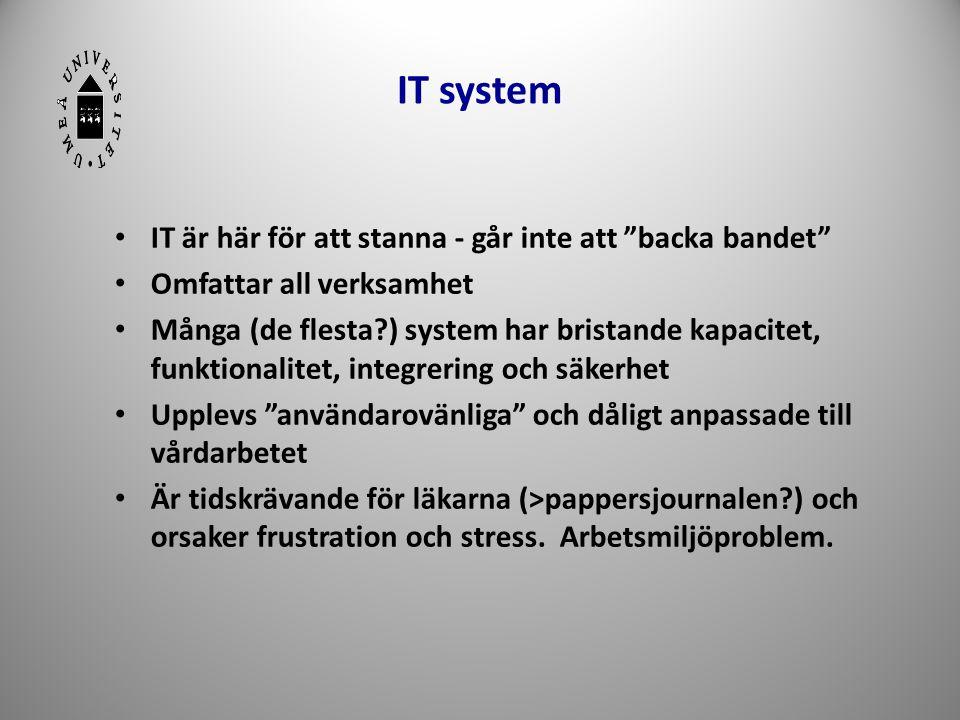 """IT system • IT är här för att stanna - går inte att """"backa bandet"""" • Omfattar all verksamhet • Många (de flesta?) system har bristande kapacitet, funk"""