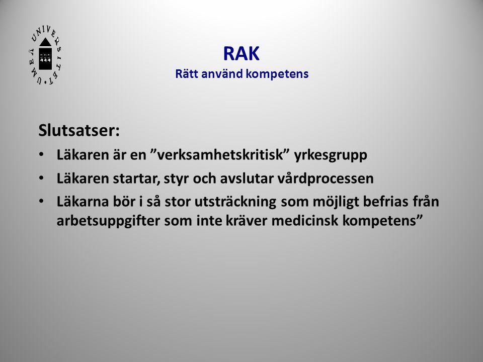 """RAK Rätt använd kompetens Slutsatser: • Läkaren är en """"verksamhetskritisk"""" yrkesgrupp • Läkaren startar, styr och avslutar vårdprocessen • Läkarna bör"""