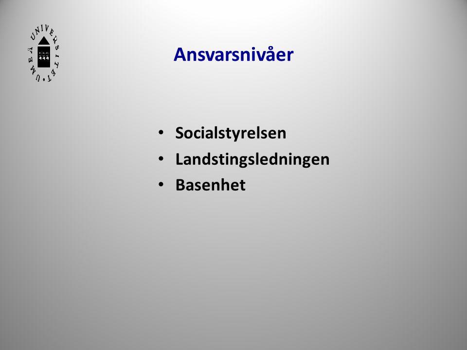 Ansvarsnivåer • Socialstyrelsen • Landstingsledningen • Basenhet 29