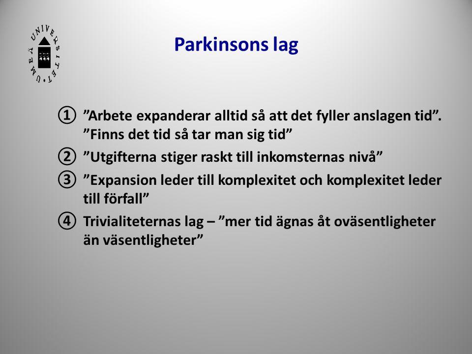 """Parkinsons lag ①""""Arbete expanderar alltid så att det fyller anslagen tid"""". """"Finns det tid så tar man sig tid"""" ②""""Utgifterna stiger raskt till inkomster"""