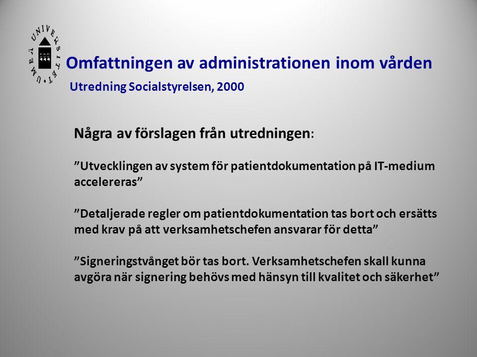 """6 Omfattningen av administrationen inom vården Utredning Socialstyrelsen, 2000 Några av förslagen från utredningen : """"Utvecklingen av system för patie"""