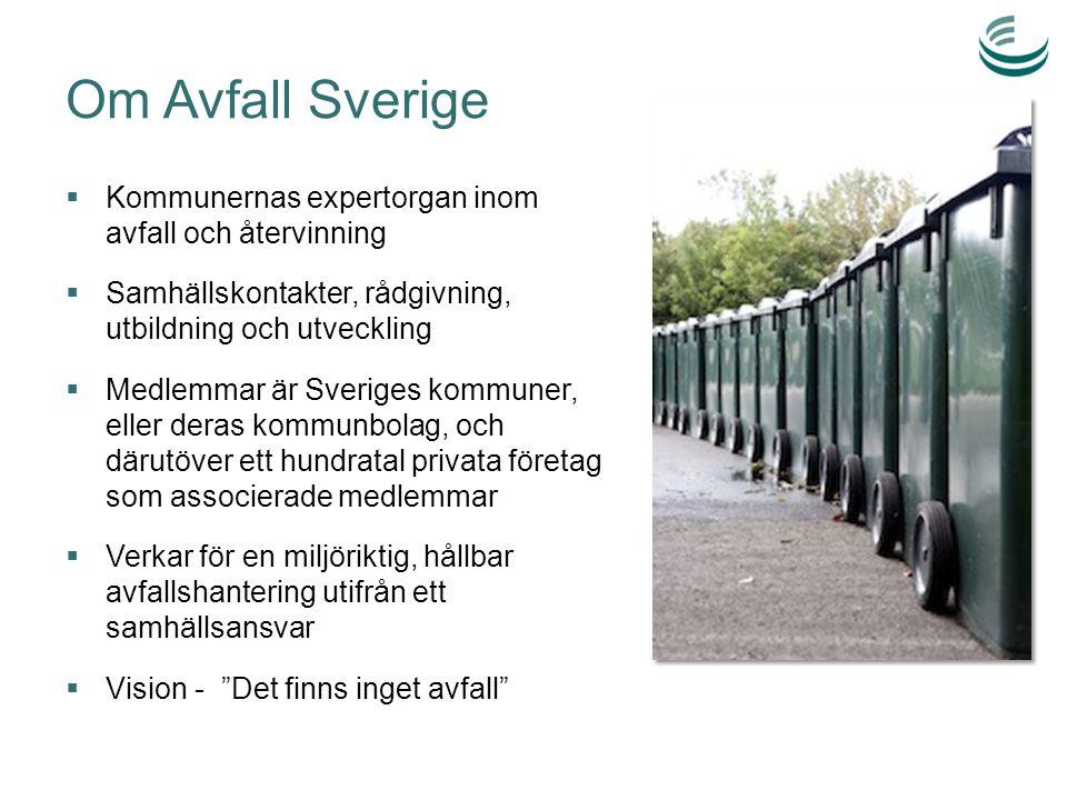 Om Avfall Sverige  Kommunernas expertorgan inom avfall och återvinning  Samhällskontakter, rådgivning, utbildning och utveckling  Medlemmar är Sveriges kommuner, eller deras kommunbolag, och därutöver ett hundratal privata företag som associerade medlemmar  Verkar för en miljöriktig, hållbar avfallshantering utifrån ett samhällsansvar  Vision - Det finns inget avfall