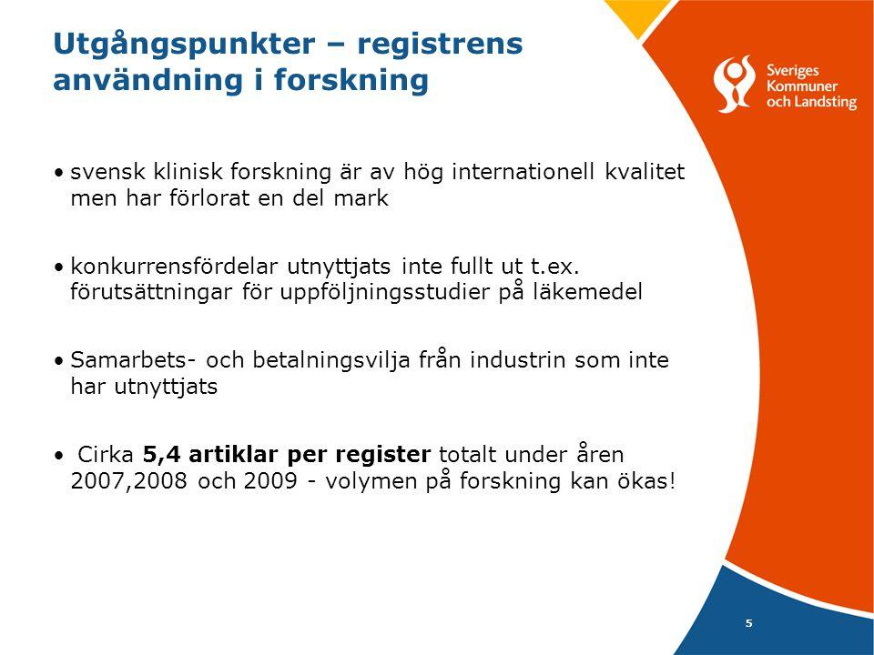 Utgångspunkter – registrens användning i forskning 5 •svensk klinisk forskning är av hög internationell kvalitet men har förlorat en del mark •konkurr