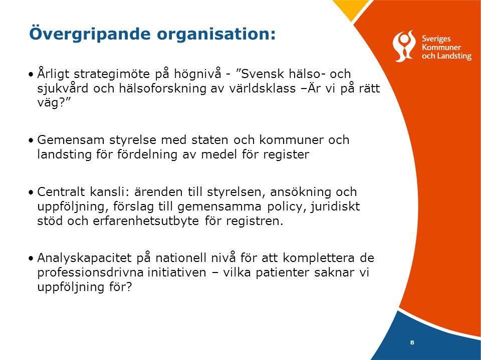 """Övergripande organisation: 8 •Årligt strategimöte på högnivå - """"Svensk hälso- och sjukvård och hälsoforskning av världsklass –Är vi på rätt väg?"""" •Gem"""