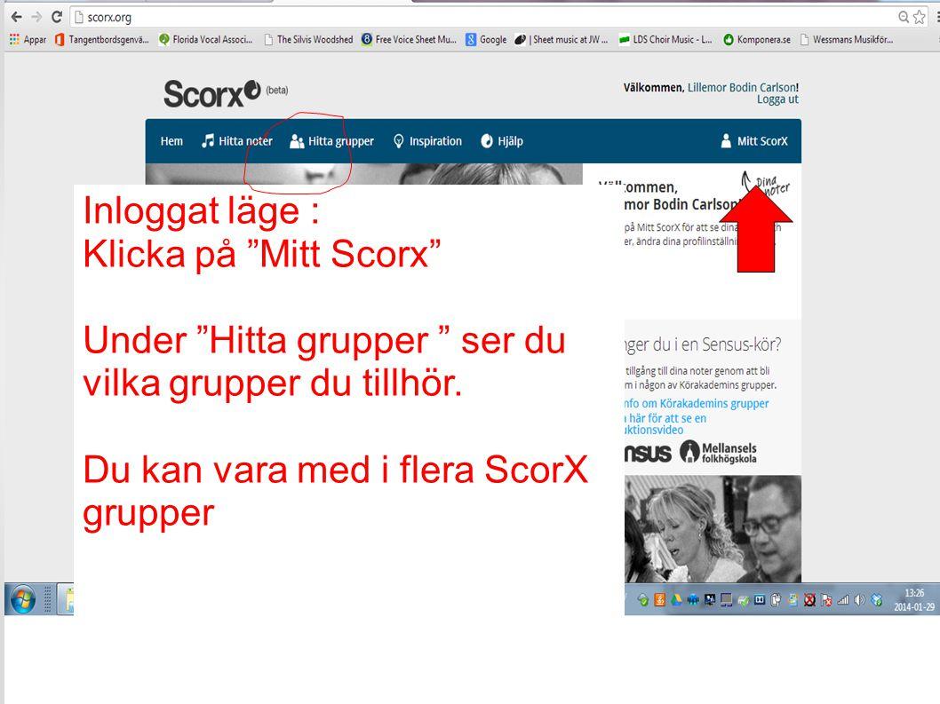 Inloggat läge : Klicka på Mitt Scorx Under Hitta grupper ser du vilka grupper du tillhör.