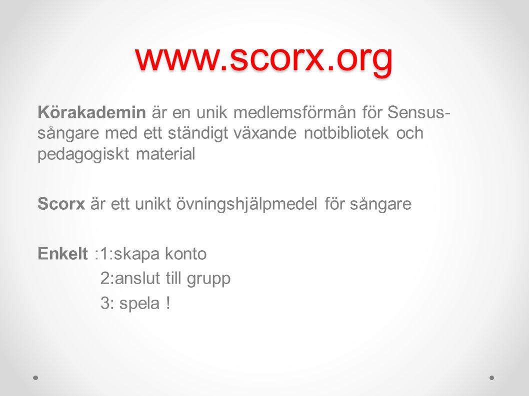 www.scorx.org Körakademin är en unik medlemsförmån för Sensus- sångare med ett ständigt växande notbibliotek och pedagogiskt material Scorx är ett unikt övningshjälpmedel för sångare Enkelt :1:skapa konto 2:anslut till grupp 3: spela !