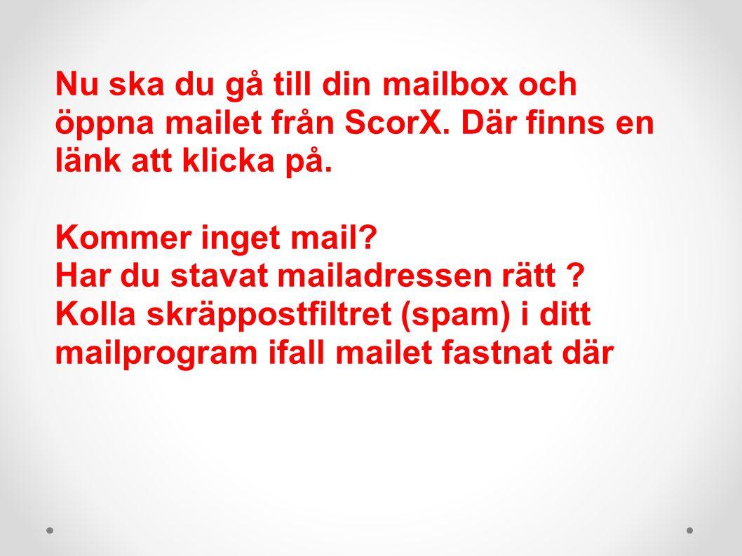 Nu ska du gå till din mailbox och öppna mailet från ScorX.