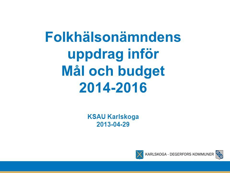 Folkhälsonämndens uppdrag inför Mål och budget 2014-2016 KSAU Karlskoga 2013-04-29