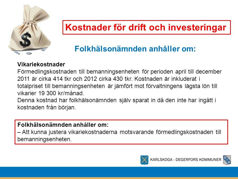 Kostnader för drift och investeringar Vikariekostnader Förmedlingskostnaden till bemanningsenheten för perioden april till december 2011 är cirka 414 tkr och 2012 cirka 430 tkr.