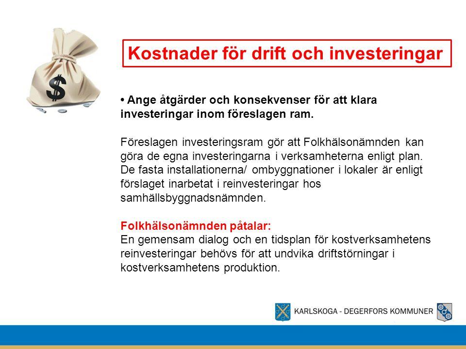 Kostnader för drift och investeringar • Ange åtgärder och konsekvenser för att klara investeringar inom föreslagen ram. Föreslagen investeringsram gör