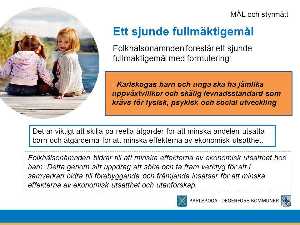 Ett sjunde fullmäktigemål Folkhälsonämnden föreslår ett sjunde fullmäktigemål med formulering: - Karlskogas barn och unga ska ha jämlika uppväxtvillko