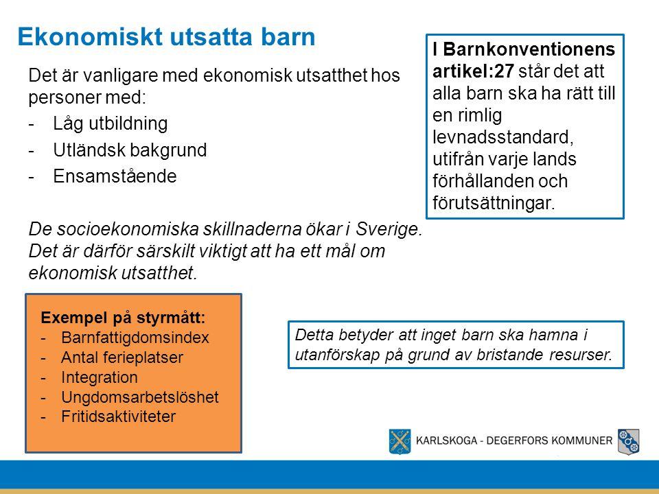 Ekonomiskt utsatta barn Det är vanligare med ekonomisk utsatthet hos personer med: -Låg utbildning -Utländsk bakgrund -Ensamstående De socioekonomiska skillnaderna ökar i Sverige.