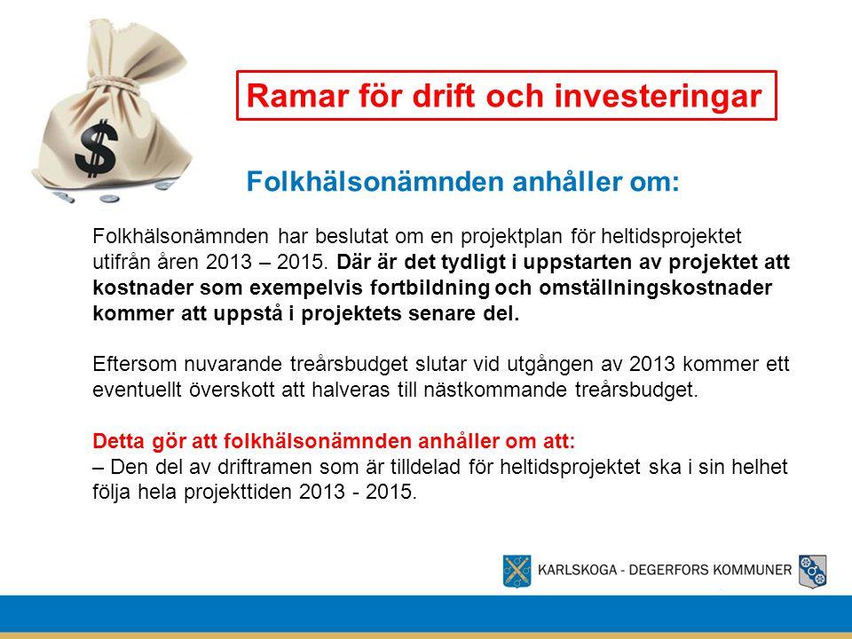 Folkhälsonämnden anhåller om: Ramar för drift och investeringar Folkhälsonämnden har beslutat om en projektplan för heltidsprojektet utifrån åren 2013