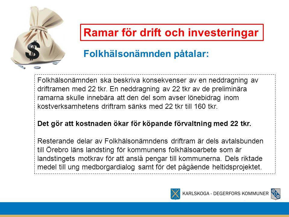 Ramar för drift och investeringar Folkhälsonämnden påtalar: Folkhälsonämnden ska beskriva konsekvenser av en neddragning av driftramen med 22 tkr. En