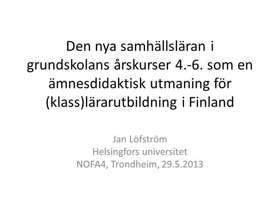 Den nya samhällsläran i grundskolans årskurser 4.-6.