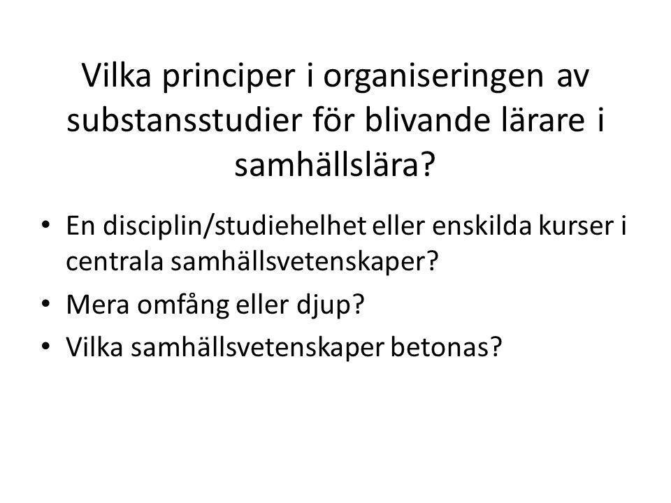 Vilka principer i organiseringen av substansstudier för blivande lärare i samhällslära.