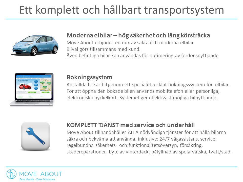 Ett komplett och hållbart transportsystem Moderna elbilar – hög säkerhet och lång körsträcka Move About erbjuder en mix av säkra och moderna elbilar.