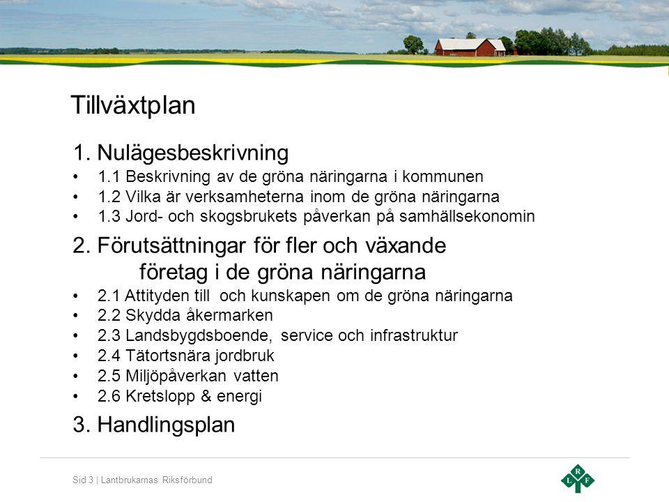Sid 3   Lantbrukarnas Riksförbund Tillväxtplan 1. Nulägesbeskrivning •1.1 Beskrivning av de gröna näringarna i kommunen •1.2 Vilka är verksamheterna i