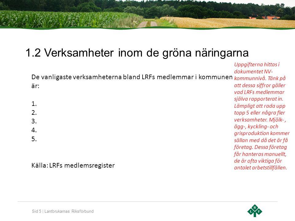 Sid 5   Lantbrukarnas Riksförbund 1.2 Verksamheter inom de gröna näringarna De vanligaste verksamheterna bland LRFs medlemmar i kommunen är: 1. 2. 3.