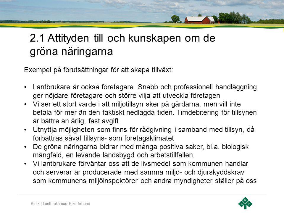Sid 8   Lantbrukarnas Riksförbund 2.1 Attityden till och kunskapen om de gröna näringarna Exempel på förutsättningar för att skapa tillväxt: •Lantbruk