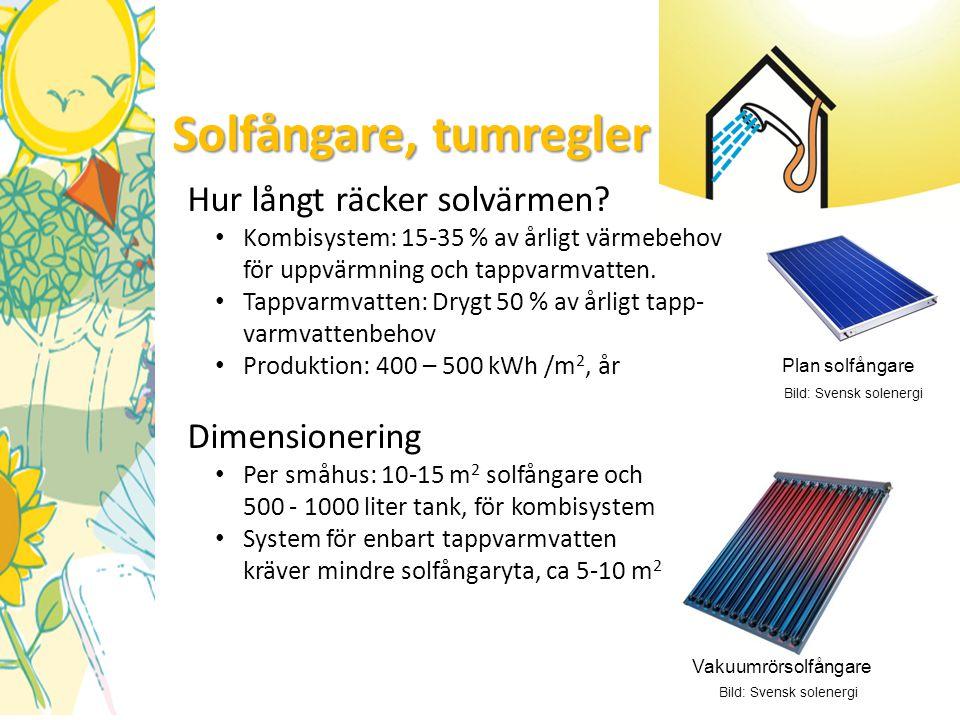 Solfångare, tumregler Hur långt räcker solvärmen? • Kombisystem: 15-35 % av årligt värmebehov för uppvärmning och tappvarmvatten. • Tappvarmvatten: Dr