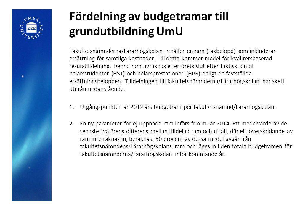 Fördelning av budgetramar till grundutbildning UmU Fakultetsnämnderna/Lärarhögskolan erhåller en ram (takbelopp) som inkluderar ersättning för samtliga kostnader.