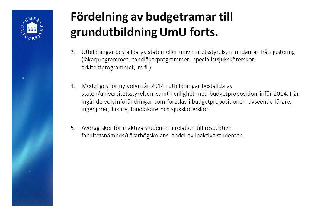 Fördelning av budgetramar till grundutbildning UmU forts. 3.Utbildningar beställda av staten eller universitetsstyrelsen undantas från justering (läka
