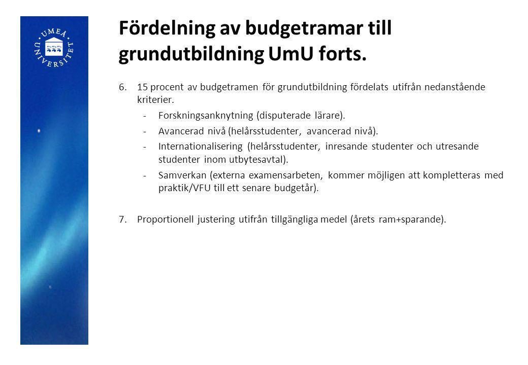 Fördelning av budgetramar till grundutbildning UmU forts. 6.15 procent av budgetramen för grundutbildning fördelats utifrån nedanstående kriterier. -F