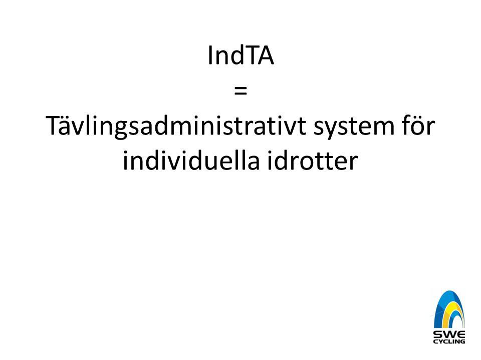 IndTA = Tävlingsadministrativt system för individuella idrotter
