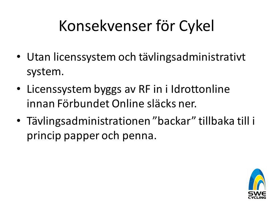 Konsekvenser för Cykel • Utan licenssystem och tävlingsadministrativt system. • Licenssystem byggs av RF in i Idrottonline innan Förbundet Online släc