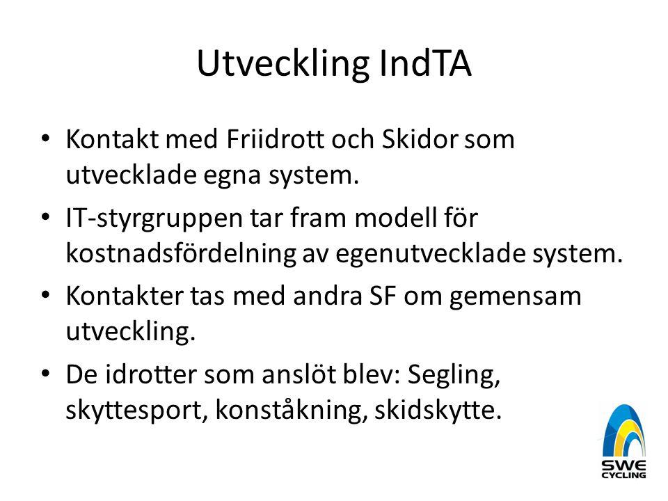 Utveckling IndTA • Kontakt med Friidrott och Skidor som utvecklade egna system. • IT-styrgruppen tar fram modell för kostnadsfördelning av egenutveckl