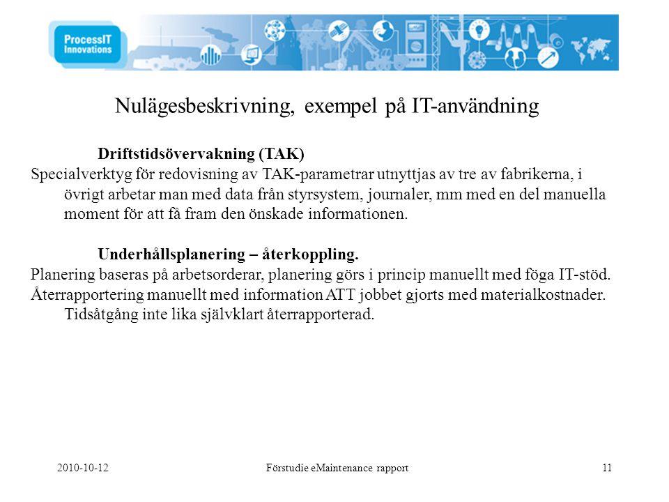2010-10-12Förstudie eMaintenance rapport11 Nulägesbeskrivning, exempel på IT-användning Driftstidsövervakning (TAK) Specialverktyg för redovisning av