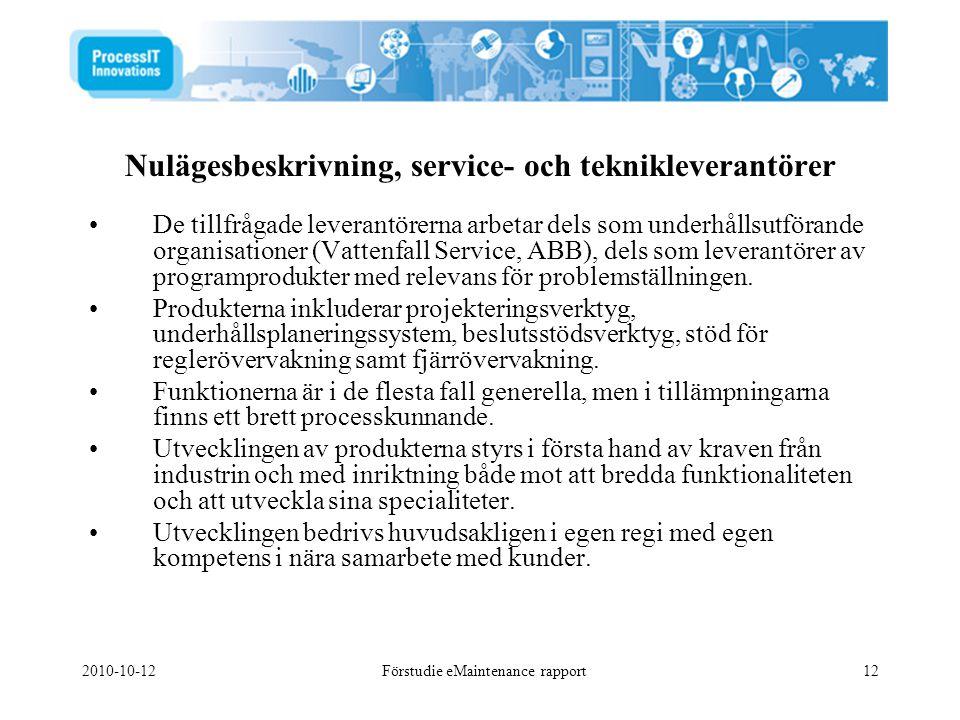 2010-10-12Förstudie eMaintenance rapport12 Nulägesbeskrivning, service- och teknikleverantörer •De tillfrågade leverantörerna arbetar dels som underhå