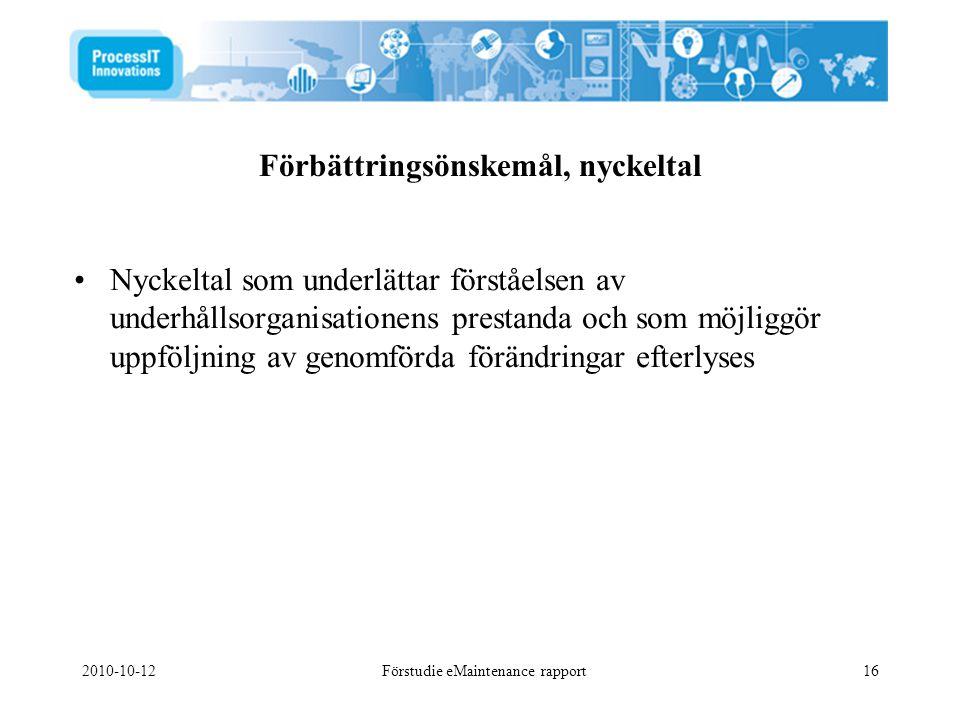 2010-10-12Förstudie eMaintenance rapport16 •Nyckeltal som underlättar förståelsen av underhållsorganisationens prestanda och som möjliggör uppföljning