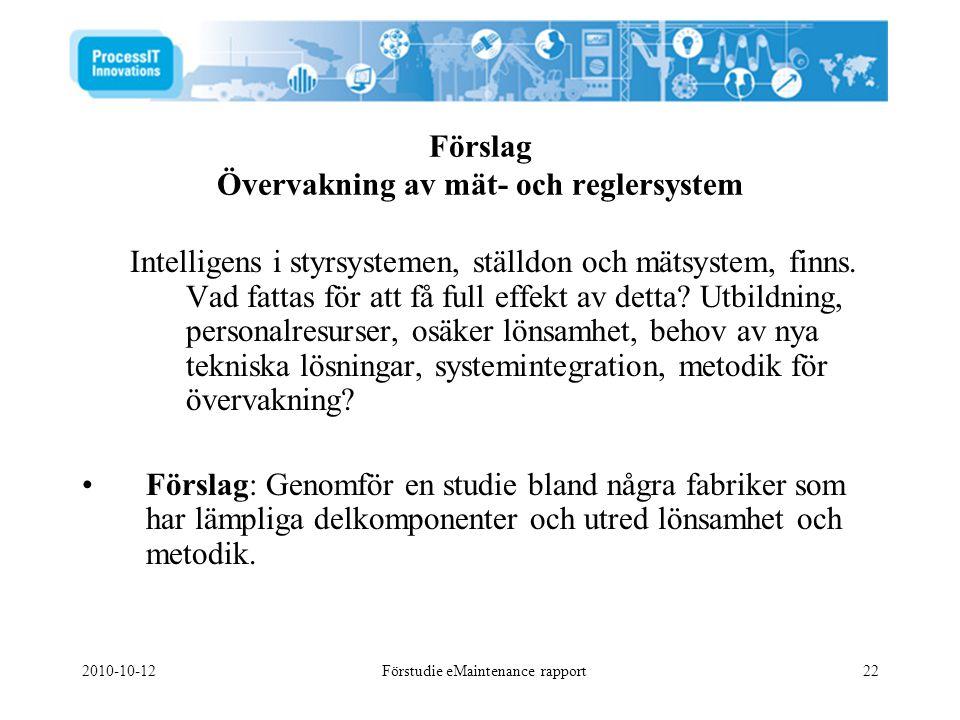 2010-10-12Förstudie eMaintenance rapport22 Förslag Övervakning av mät- och reglersystem Intelligens i styrsystemen, ställdon och mätsystem, finns. Vad