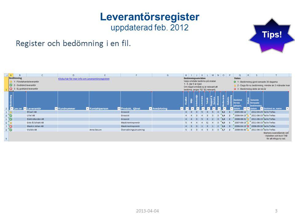 Leverantörsregister uppdaterad feb. 2012 Register och bedömning i en fil. 2013-04-043 Tips!