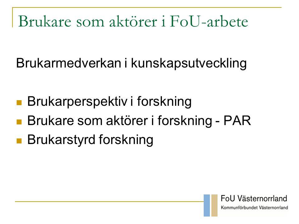 Brukare som aktörer i FoU-arbete Brukarmedverkan i kunskapsutveckling  Brukarperspektiv i forskning  Brukare som aktörer i forskning - PAR  Brukars