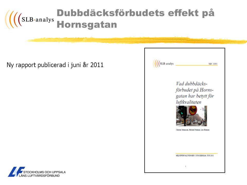 Dubbdäcksförbudets effekt på Hornsgatan Ny rapport publicerad i juni år 2011