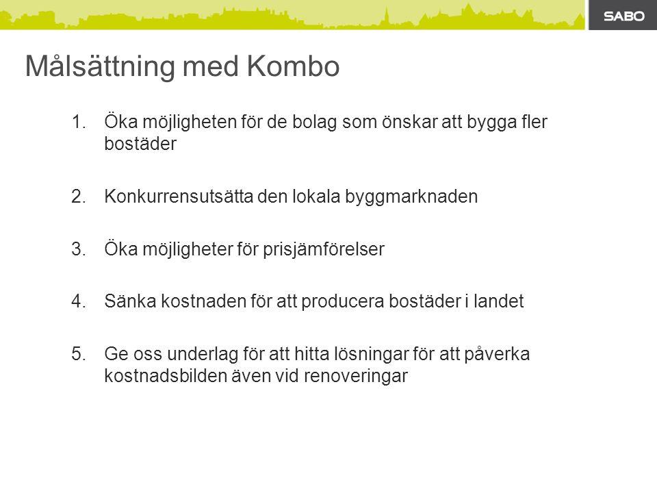 Målsättning med Kombo 1.Öka möjligheten för de bolag som önskar att bygga fler bostäder 2.Konkurrensutsätta den lokala byggmarknaden 3.Öka möjligheter